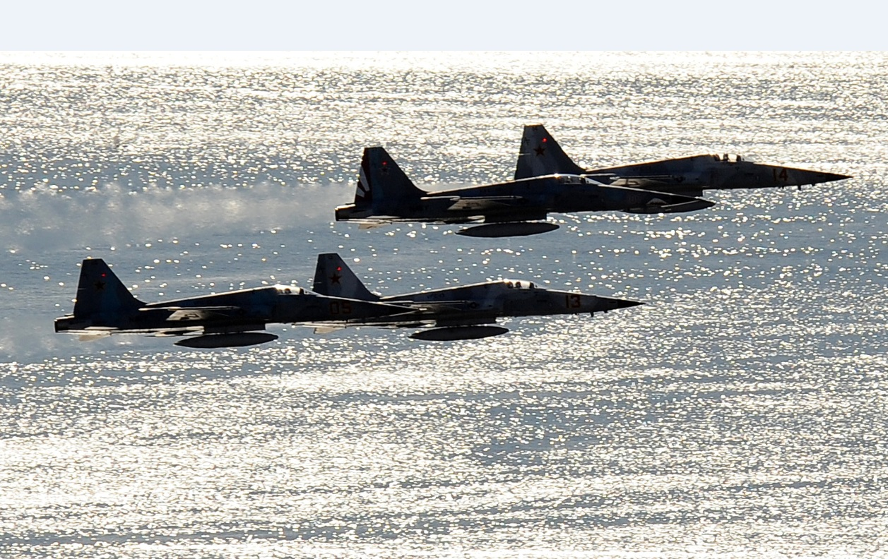 F-5 da Marinha dos EUA sobre San Diego - foto USN