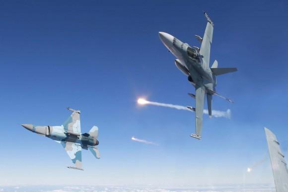 F-18 Hornet RAAF e F-16 Aggressor USAF - foto MD Australia