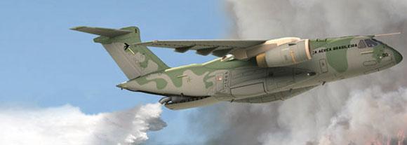 KC-390 em configuração bombeiro - imagem Embraer