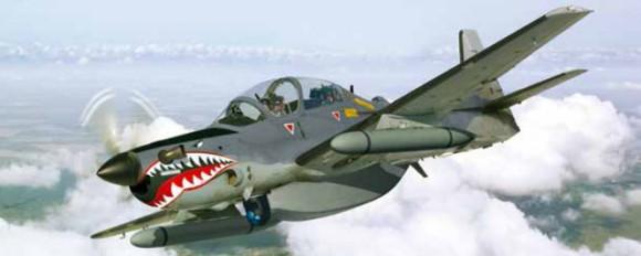A-29 Super Tucano com Recce Pod SAR - abertura sintética - da banda P para varredura e detecção - recorte ilustração Embraer