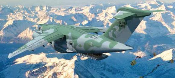 KC-390 lançando cargas - imagem Embraer em bx resolução
