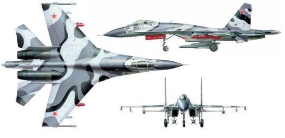 Su-27SK três vistas - imagem UAC