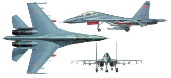 Su-30MK três vistas - imagem UAC