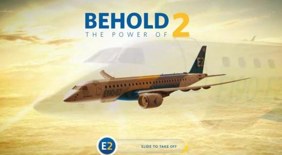 Tela inicial site Embraer sobre E-Jets E2