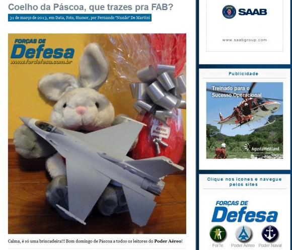 Post de Páscoa do Poder Aéreo com F-16
