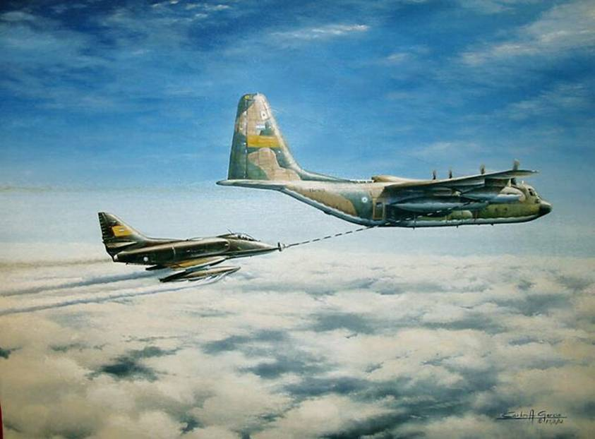 A-4 SkyHawk reabasteciendose