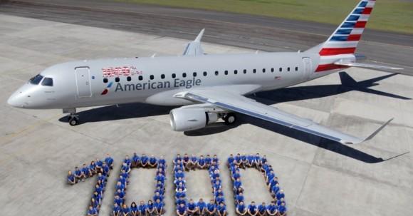E-Jet número 1000  da Embraer com as cores da American Eagle - foto Divulgação via UOL