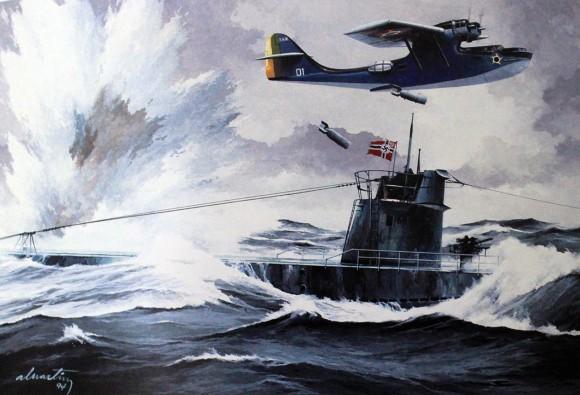 Arará atacando o U-199 ao largo do Rio de Janeiro - Reprodução pintura de Álvaro Martins
