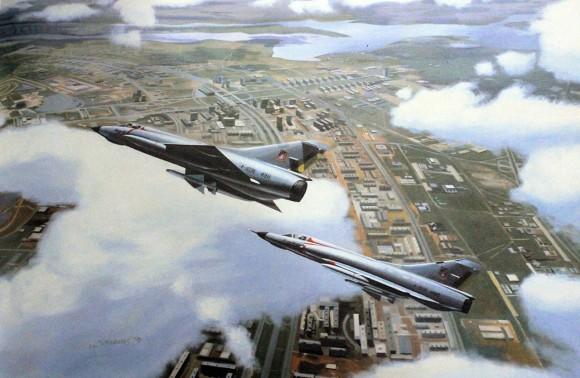 Jaguares sobre Brasília - Reprodução de pintura de Bryan Withams - 1979