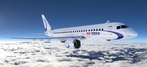 E190 E2 nas cores da Aircosta - imagem Embraer