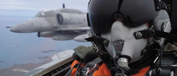 A-4AR visto de cockpit - foto Força Aérea Argentina