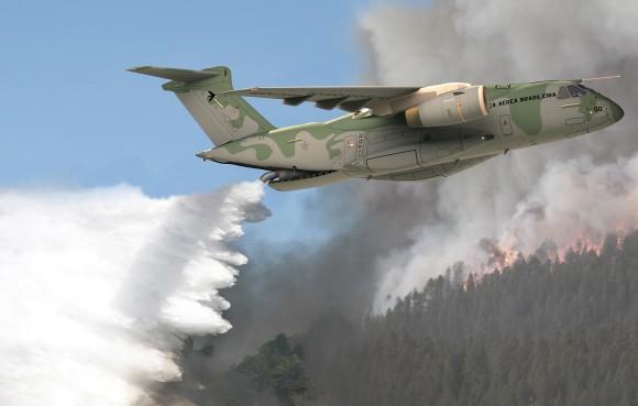 KC-390 combate a incêndio - concepção artística Embraer