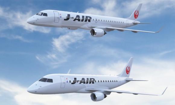 E-170 e E-190 nas cores da J-AIR da JAL - imagem Embraer