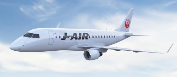 E-170 nas cores da J-AIR da JAL - imagem Embraer