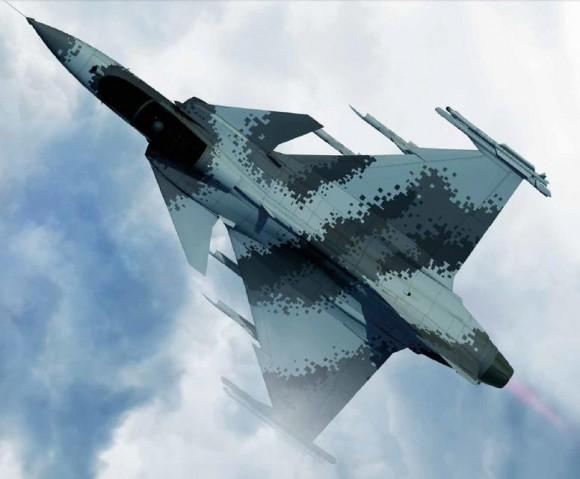 Gripen E com camuflagem pixelizada - imagem Saab