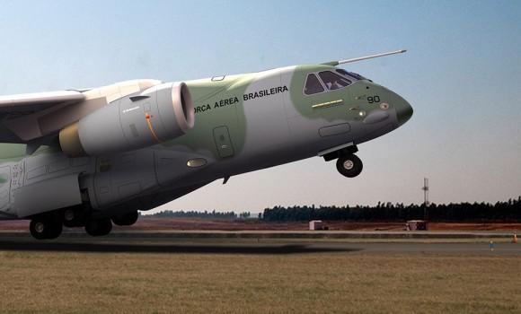 KC-390 decolando - destaque imagem Embraer