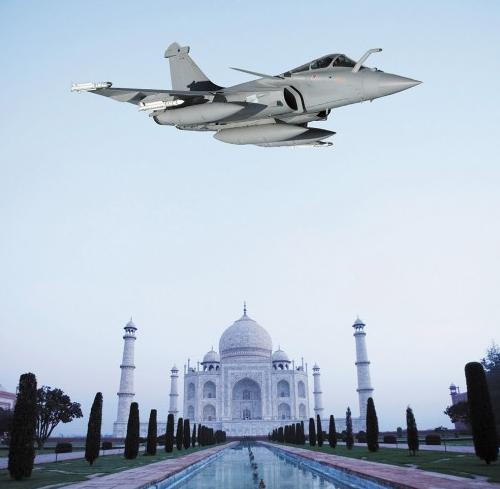 fotomontagem Rafale e Taj Mahal - imagem via Dassault