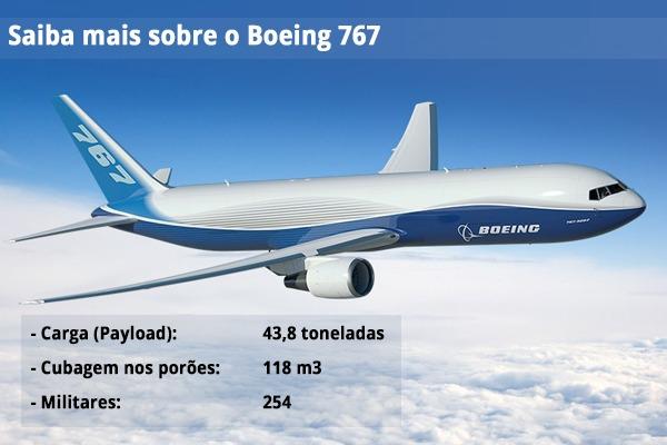 Boeing 767 com especificacoes - imagem via FAB
