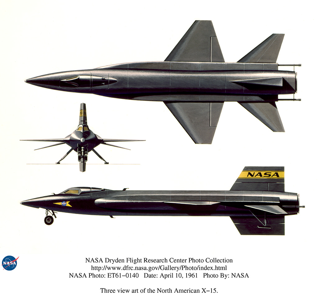 Three view art of the North American X-15. 4/10/61