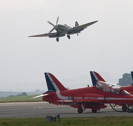 Spitfire over Red Arrows - photo RAF