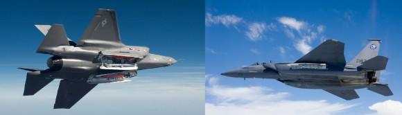 F-35 versus F-15SE - fotomontagem sobre fotos Lockheed Martin e Boeing
