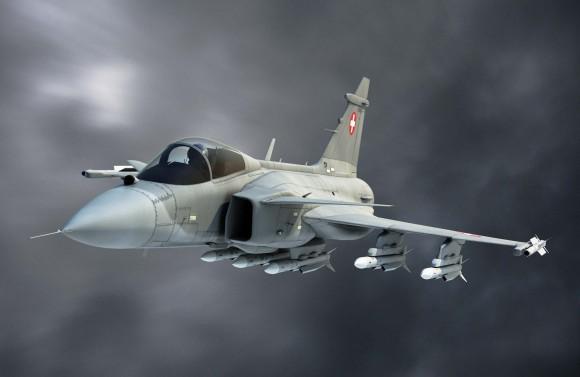 Gripen nas cores da Força Aérea Suíça - ilustração Saab