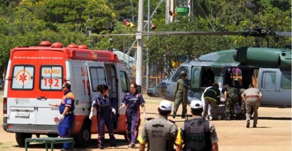 Helicóptero da FAB em apoio a tragédia em Sta Maria - foto M Nagelstein - Preview.com via UOL