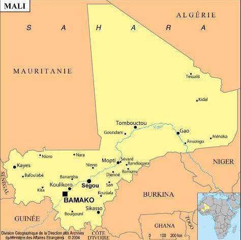 Operação Serval - mapa de Mali - imagem via Ministério da Defesa da França