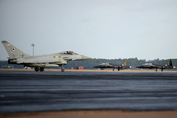8436089638_8e40f85322_b A Eurofighter Typhoon FGR4 taxis down the flightline as two T-38 Talons prepare to take off Jan 30 2013 - Langley