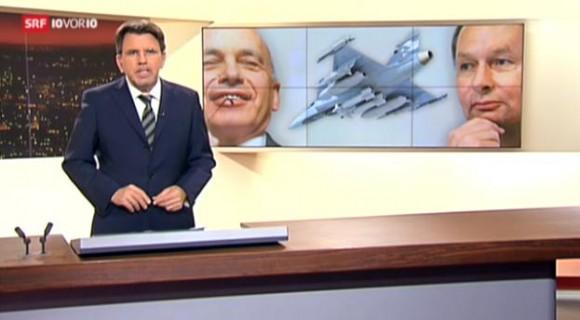 Imagem telejornal 10vor10 - apoio líder do FPD ao Gripen