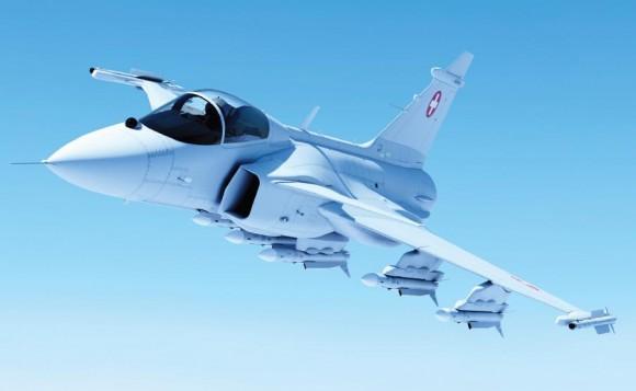 Gripen E nas cores da Força Aérea Suíça - ilustração Saab
