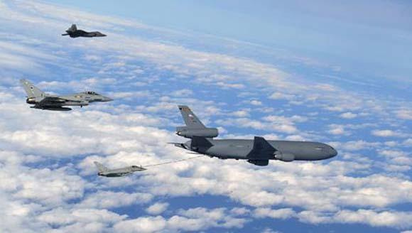 Typhoons RAF em exercício Razor Talon com USAF e USN - foto RAF