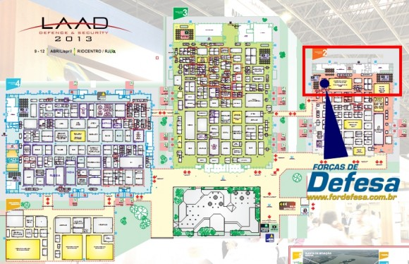 mapa LAAD 2013 com localizacao do estande da revista forcas de defesa