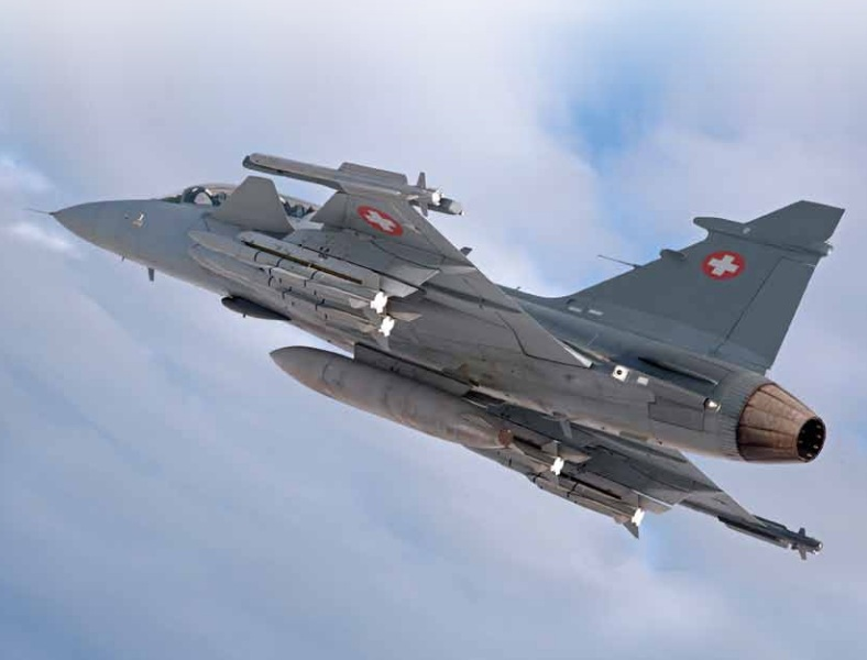 Gripen NG nas cores da Suíça - fotomontagem Saab