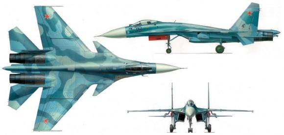 Su-33 três vistas - imagem UAC