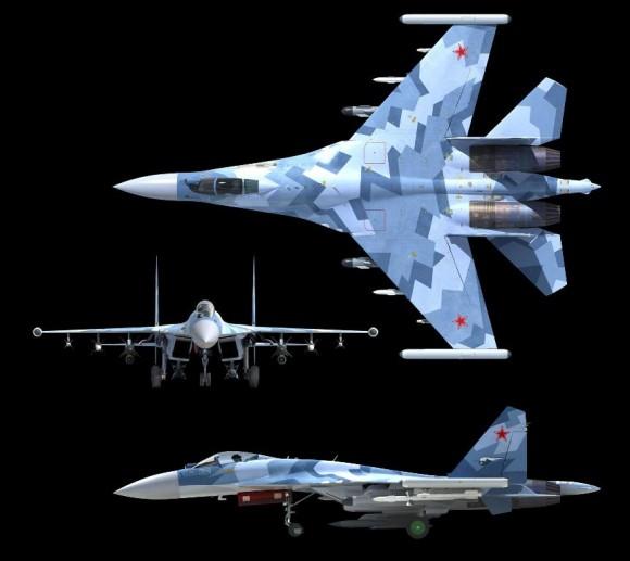 Su-35 três vistas - imagem UAC