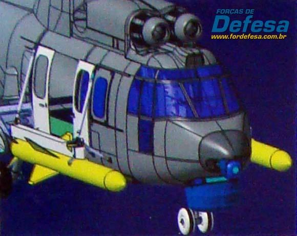 Ilustração do EC725 com AM39 em painel na inauguração da Helibras em 2-10-2012 - foto Nunão - Forças de Defesa