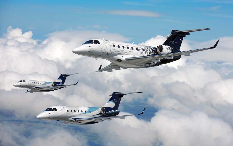 Legacy 500 em formação - imagem Embraer