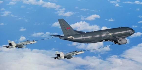 CC-150 Polaris da frota do Canadá reabastece dois CF-18 - foto Força Aérea Real Canadense