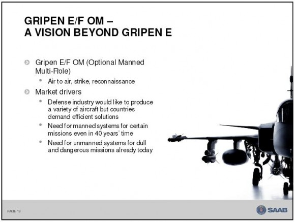 Gripen Optional Manned - tela 19 apres Saab em Le Bourget 2013