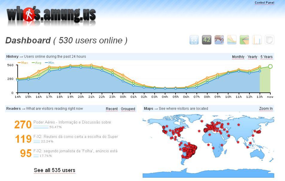 Poder Aereo com 530 usuarios online