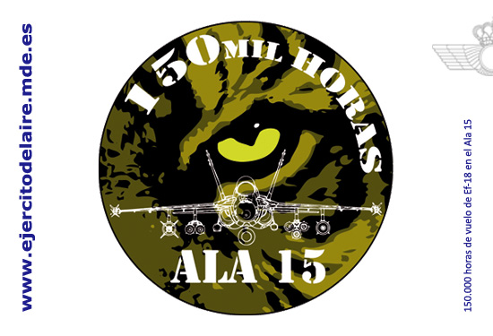150 mil horas de voo em F-18 Hornet - C15 - na Ala 15 - bolacha comemorativa - imagem Força Aérea Espanhola