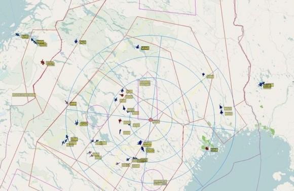 Um dos mapas do exercício Artic Challenge 2013 - imagem Força Aérea Sueca