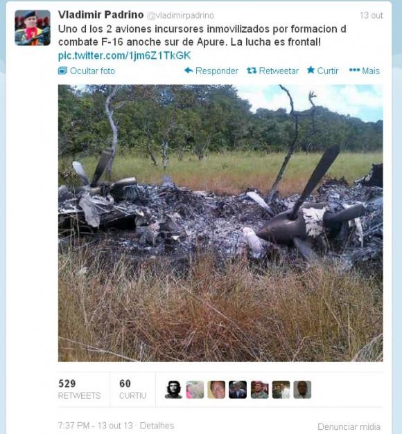 twitter-vladimir-padrino-derrubada-de-aeronave-venezuela