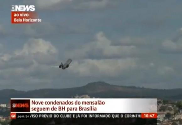 Avião da Polícia Federal em Pampulha - imagem reprodução Globo News via G1