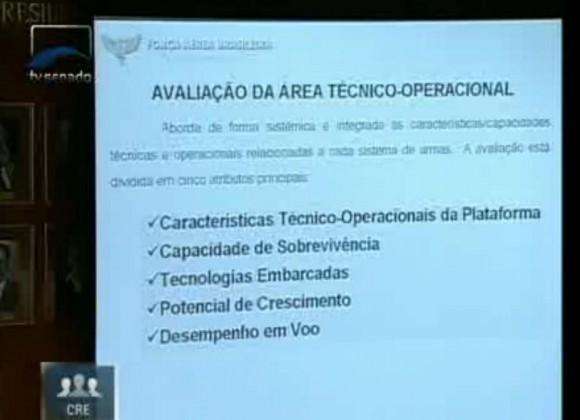 Audiência F-X2 e escolha Gripen na CRE - tela capturada apresentação COPAC