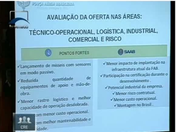 Audiência F-X2 e escolha Gripen na CRE - tela capturada apresentação COPAC - pontos fortes