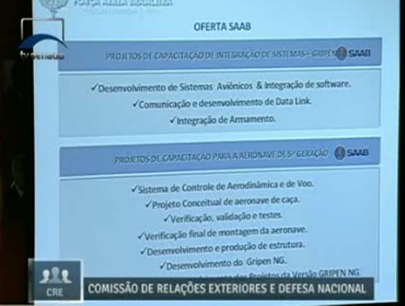 Audiência F-X2 e escolha Gripen na CRE - tela capturada apresentação COPAC - projetos de capacitação