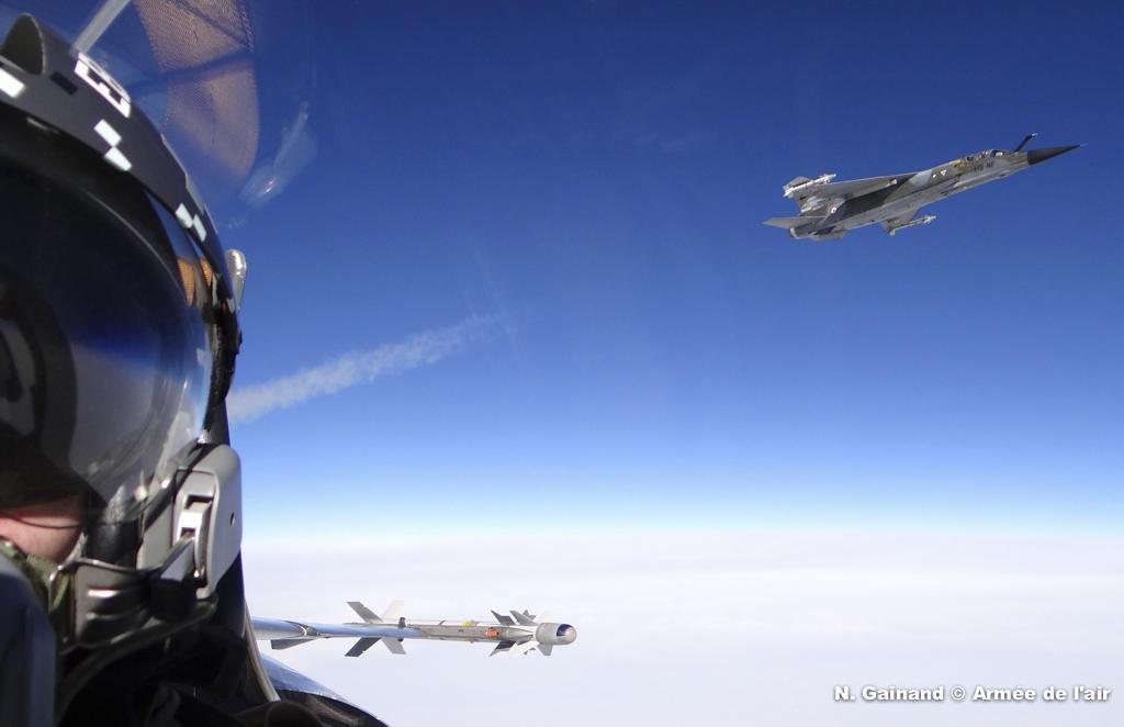 Caça Mirage F1 visto de cockpit - foto Força Aérea Francesa