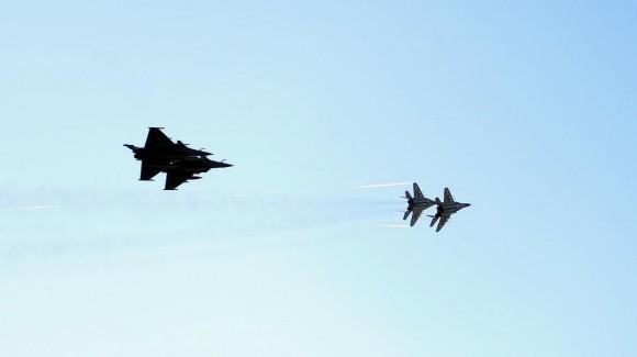 Rafale e MiG-29 em Malbork na Polônia  - foto Min Def Polônia